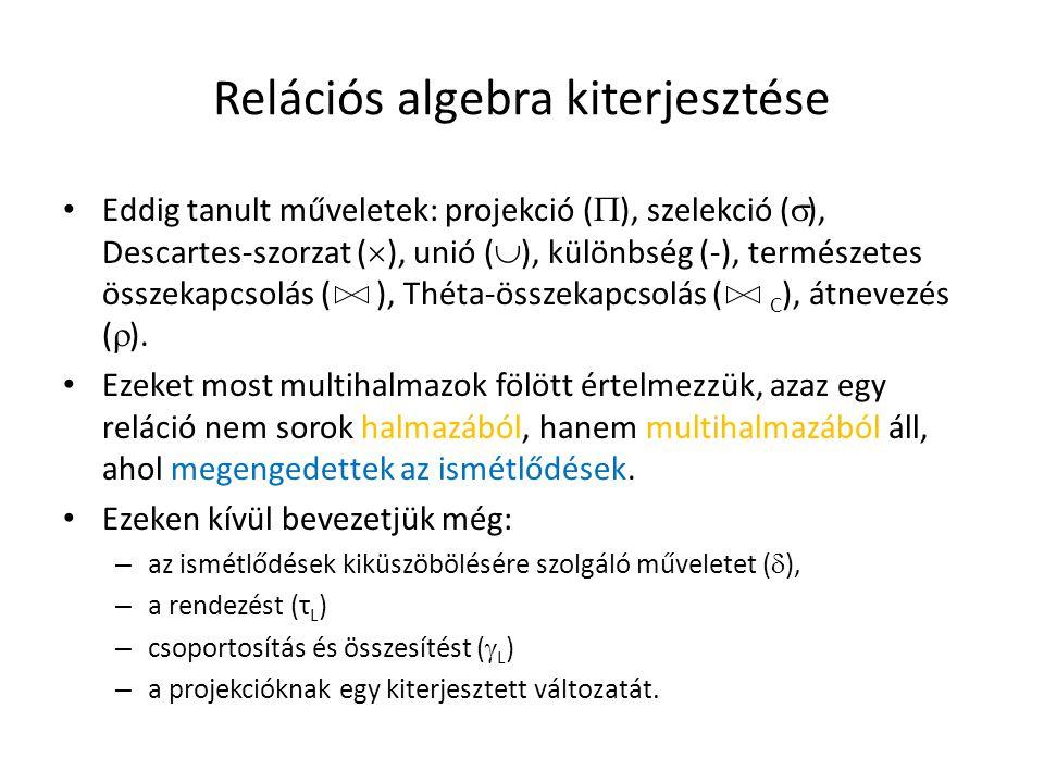 Kiterjesztett projekció  L (R) L listája az SQL SELECT záradékához hasonlóan tartalmazhatja: – R egy attribútumát, – x  y, ahol x, y attribútumnevek, s itt x-et y-ra nevezzük át, – E  y, ahol E R attribútumait, konstansokat, aritmetikai operátorokat és karakterlánc operátorokat tartalmazhat például: A + 5, C || nevű emberek .