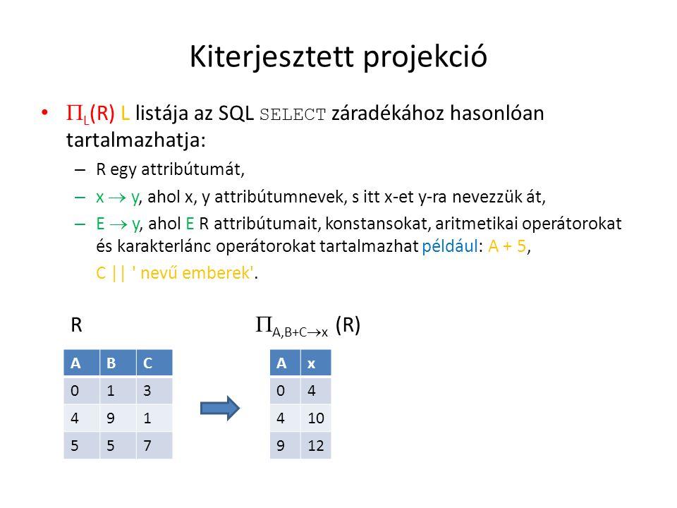 Kiterjesztett projekció  L (R) L listája az SQL SELECT záradékához hasonlóan tartalmazhatja: – R egy attribútumát, – x  y, ahol x, y attribútumnevek