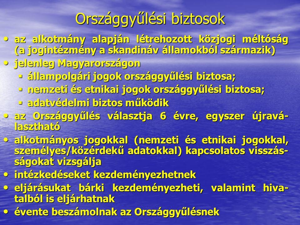 Országgyűlési biztosok az alkotmány alapján létrehozott közjogi méltóság (a jogintézmény a skandináv államokból származik) az alkotmány alapján létreh
