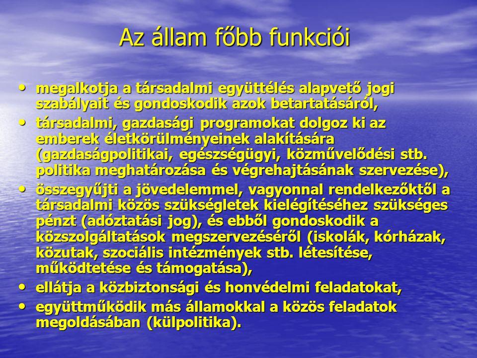 Az állam főbb funkciói megalkotja a társadalmi együttélés alapvető jogi szabályait és gondoskodik azok betartatásáról, megalkotja a társadalmi együtté