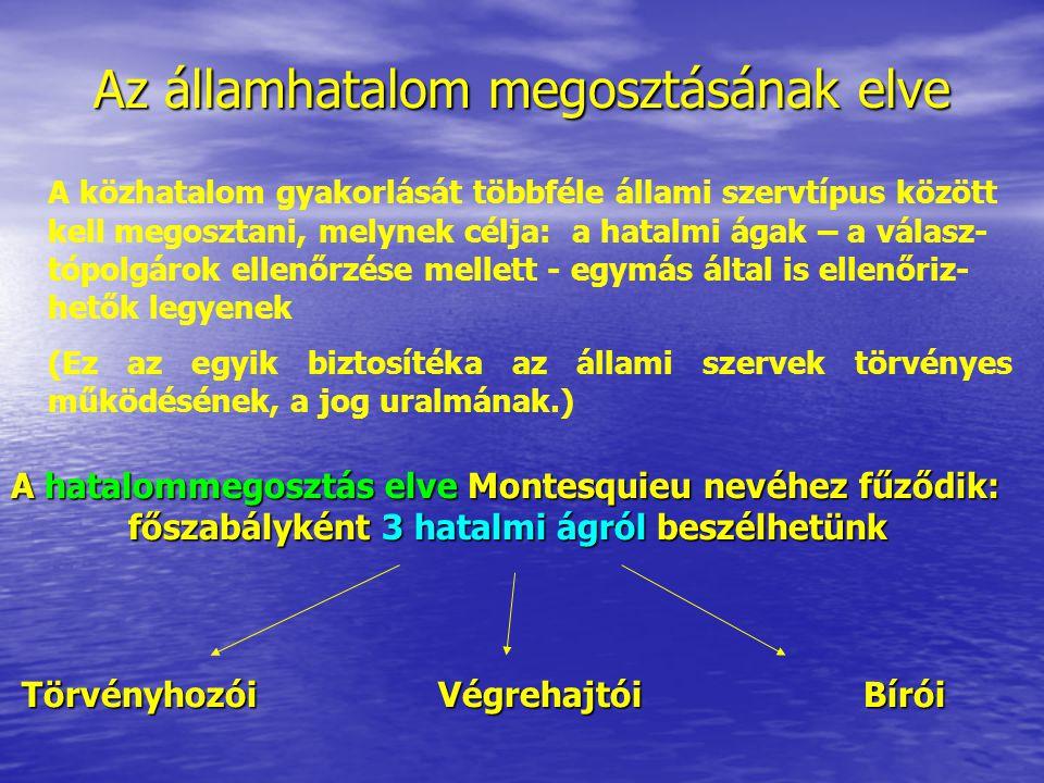 Az államhatalom megosztásának elve A hatalommegosztás elve Montesquieu nevéhez fűződik: főszabályként 3 hatalmi ágról beszélhetünk Törvényhozói Végreh