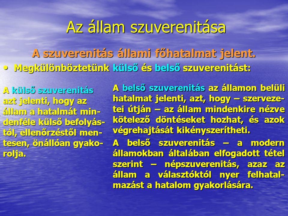 A szuverenitás állami főhatalmat jelent. Megkülönböztetünk külső és belső szuverenitást: Megkülönböztetünk külső és belső szuverenitást: A külső szuve