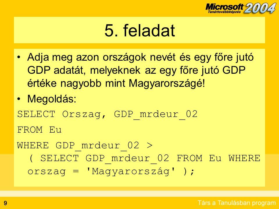 9 5. feladat Adja meg azon országok nevét és egy főre jutó GDP adatát, melyeknek az egy főre jutó GDP értéke nagyobb mint Magyarországé! Megoldás: SEL