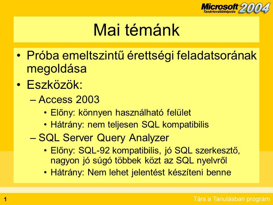 1 Mai témánk Próba emeltszintű érettségi feladatsorának megoldása Eszközök: –Access 2003 Előny: könnyen használható felület Hátrány: nem teljesen SQL kompatibilis –SQL Server Query Analyzer Előny: SQL-92 kompatibilis, jó SQL szerkesztő, nagyon jó súgó többek közt az SQL nyelvről Hátrány: Nem lehet jelentést készíteni benne