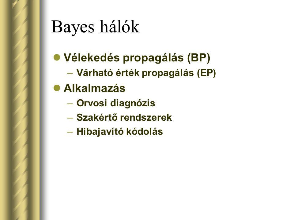 Bayes hálók Vélekedés propagálás (BP) –Várható érték propagálás (EP) Alkalmazás –Orvosi diagnózis –Szakértő rendszerek –Hibajavító kódolás