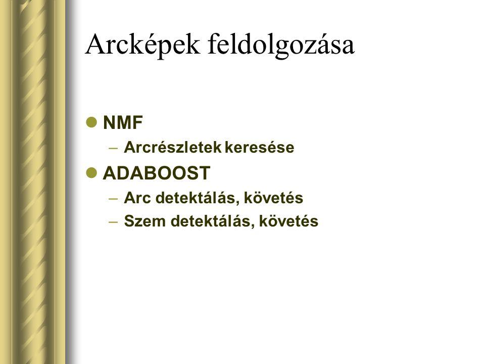Arcképek feldolgozása NMF –Arcrészletek keresése ADABOOST –Arc detektálás, követés –Szem detektálás, követés