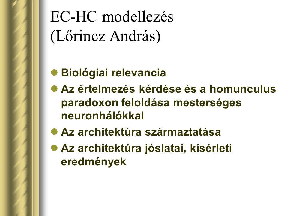 EC-HC modellezés (Lőrincz András) Biológiai relevancia Az értelmezés kérdése és a homunculus paradoxon feloldása mesterséges neuronhálókkal Az archite