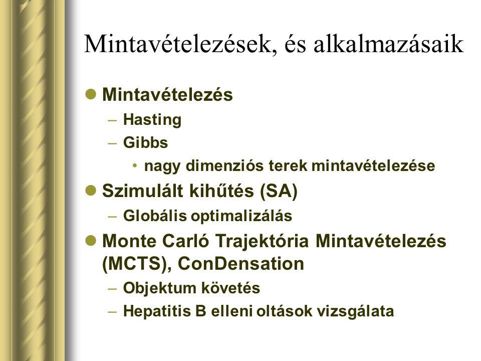 Mintavételezések, és alkalmazásaik Mintavételezés –Hasting –Gibbs nagy dimenziós terek mintavételezése Szimulált kihűtés (SA) –Globális optimalizálás Monte Carló Trajektória Mintavételezés (MCTS), ConDensation –Objektum követés –Hepatitis B elleni oltások vizsgálata