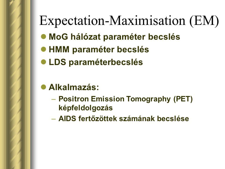 Expectation-Maximisation (EM) MoG hálózat paraméter becslés HMM paraméter becslés LDS paraméterbecslés Alkalmazás: –Positron Emission Tomography (PET) képfeldolgozás –AIDS fertőzöttek számának becslése
