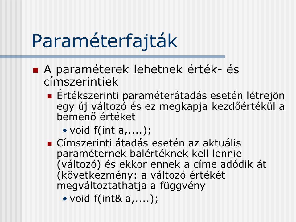 Paraméterfajták A paraméterek lehetnek érték- és címszerintiek Értékszerinti paraméterátadás esetén létrejön egy új változó és ez megkapja kezdőértékül a bemenő értéket void f(int a,....); Címszerinti átadás esetén az aktuális paraméternek balértéknek kell lennie (változó) és ekkor ennek a címe adódik át (következmény: a változó értékét megváltoztathatja a függvény void f(int& a,....);