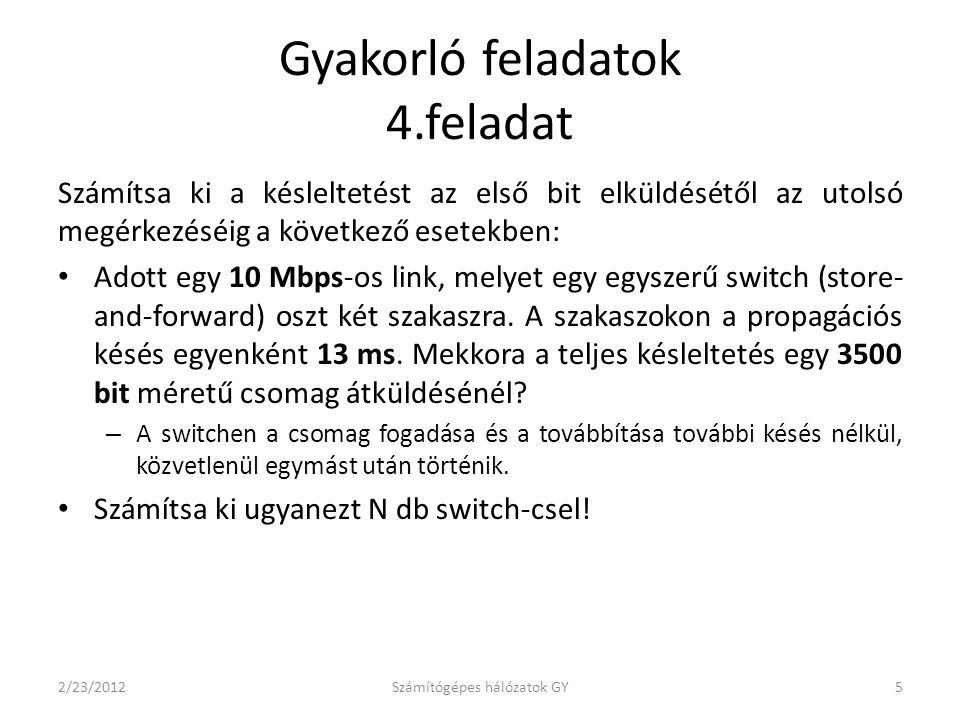 Számítsa ki a késleltetést az első bit elküldésétől az utolsó megérkezéséig a következő esetekben: Adott egy 10 Mbps-os link, melyet egy egyszerű switch (store- and-forward) oszt két szakaszra.