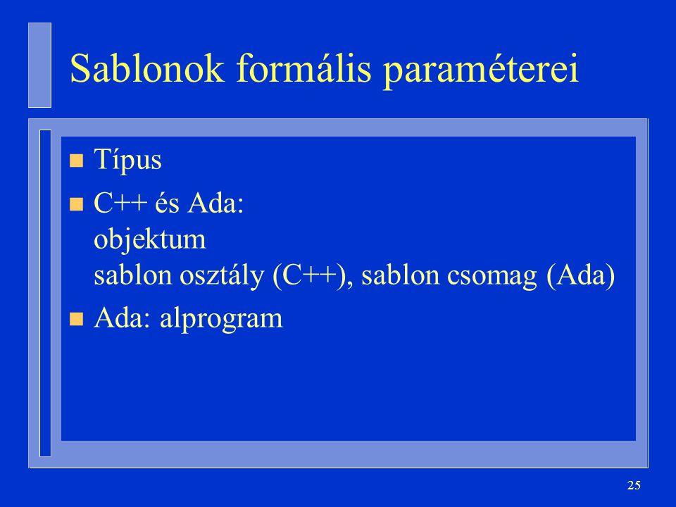 25 Sablonok formális paraméterei n Típus n C++ és Ada: objektum sablon osztály (C++), sablon csomag (Ada) n Ada: alprogram