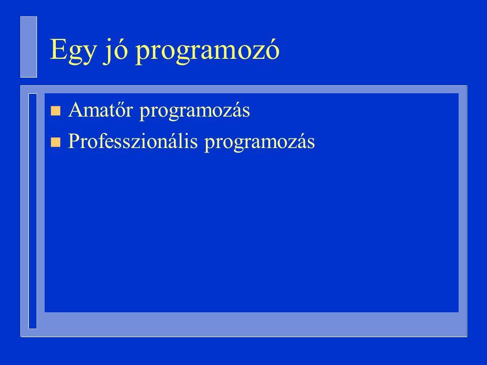 Egy jó programozó n Amatőr programozás n Professzionális programozás