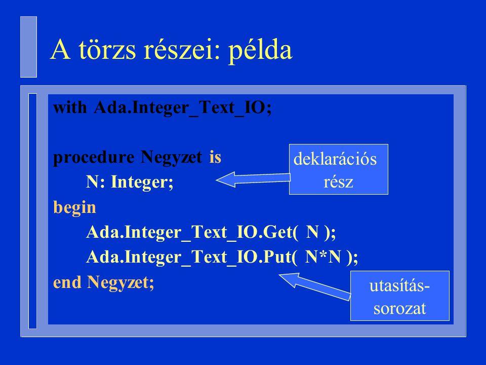 with Ada.Integer_Text_IO; procedure Negyzet is N: Integer; begin Ada.Integer_Text_IO.Get( N ); Ada.Integer_Text_IO.Put( N*N ); end Negyzet; deklarációs rész utasítás- sorozat A törzs részei: példa