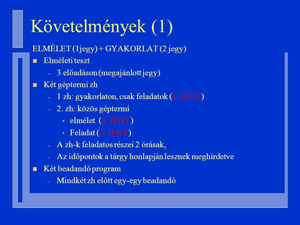Követelmények (1) ELMÉLET (1jegy) + GYAKORLAT (2 jegy) n Elméleti teszt – 3 előadáson (megajánlott jegy) n Két géptermi zh – 1 zh: gyakorlaton, csak feladatok (1.