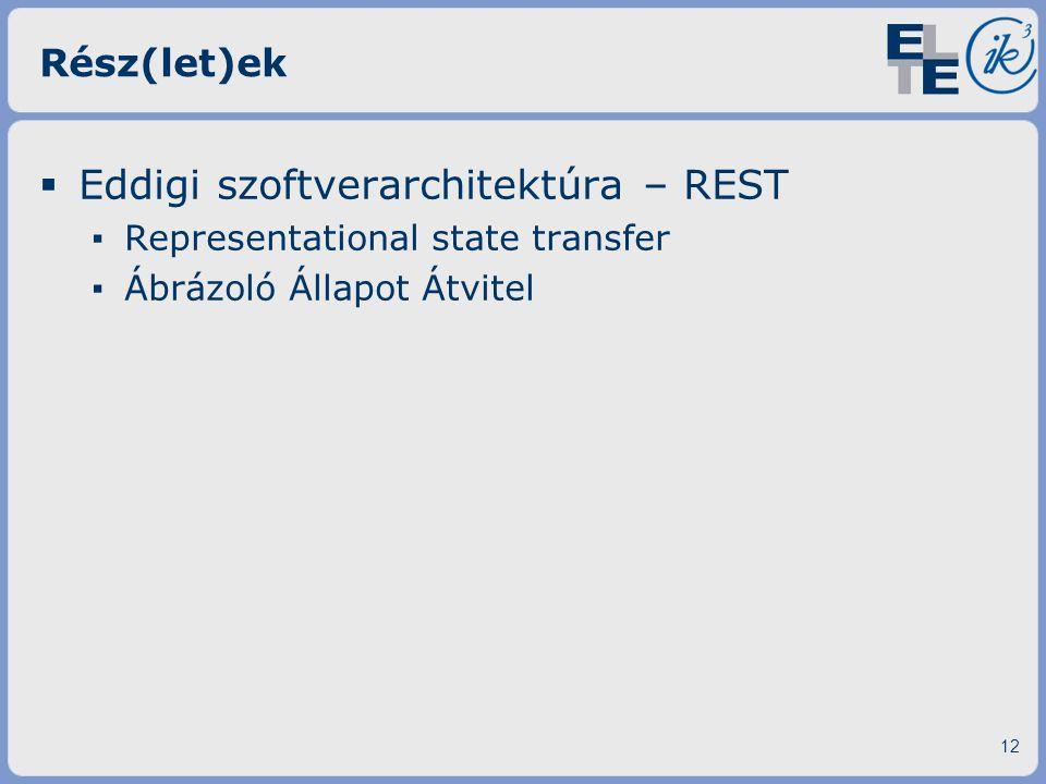 Rész(let)ek  Eddigi szoftverarchitektúra – REST ▪ Representational state transfer ▪ Ábrázoló Állapot Átvitel 12