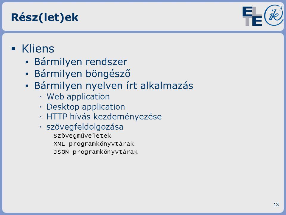 Rész(let)ek  Kliens ▪ Bármilyen rendszer ▪ Bármilyen böngésző ▪ Bármilyen nyelven írt alkalmazás ·Web application ·Desktop application ·HTTP hívás ke