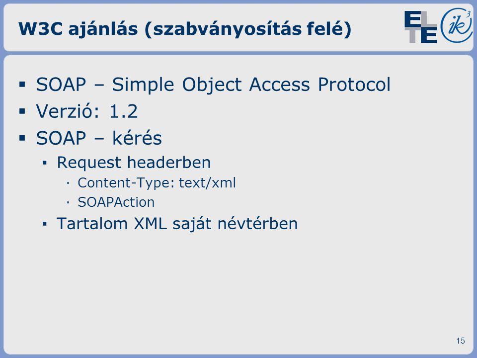 W3C ajánlás (szabványosítás felé)  SOAP – Simple Object Access Protocol  Verzió: 1.2  SOAP – kérés ▪ Request headerben ·Content-Type: text/xml ·SOA