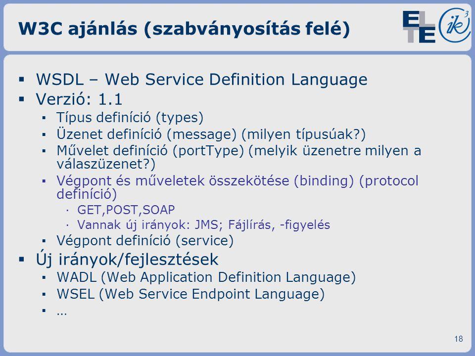 W3C ajánlás (szabványosítás felé)  WSDL – Web Service Definition Language  Verzió: 1.1 ▪ Típus definíció (types) ▪ Üzenet definíció (message) (milye