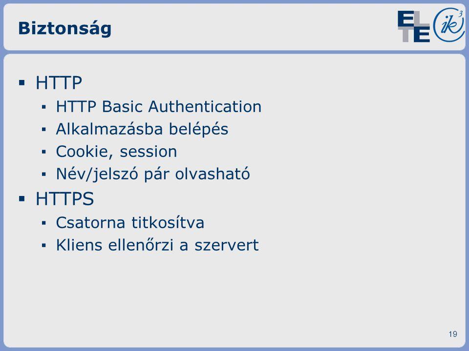 Biztonság  HTTP ▪ HTTP Basic Authentication ▪ Alkalmazásba belépés ▪ Cookie, session ▪ Név/jelszó pár olvasható  HTTPS ▪ Csatorna titkosítva ▪ Klien