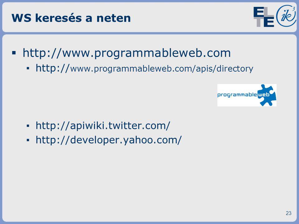 WS keresés a neten  http://www.programmableweb.com ▪ http:// www.programmableweb.com/apis/directory ▪ http://apiwiki.twitter.com/ ▪ http://developer.