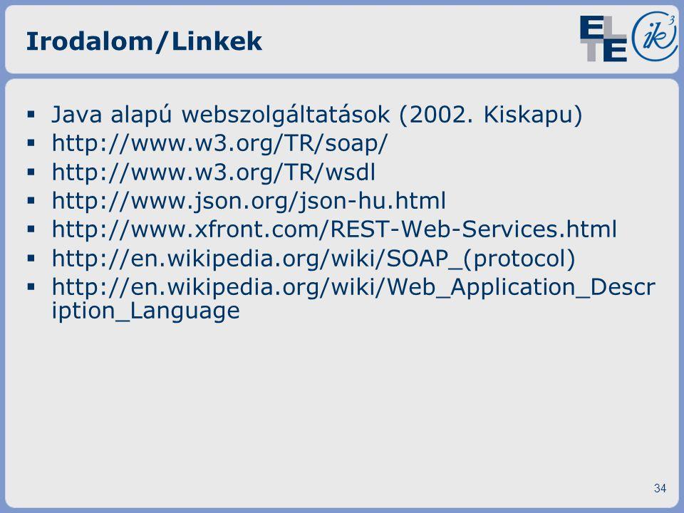 Irodalom/Linkek  Java alapú webszolgáltatások (2002. Kiskapu)  http://www.w3.org/TR/soap/  http://www.w3.org/TR/wsdl  http://www.json.org/json-hu.