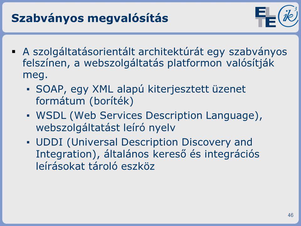 Szabványos megvalósítás  A szolgáltatásorientált architektúrát egy szabványos felszínen, a webszolgáltatás platformon valósítják meg. ▪ SOAP, egy XML
