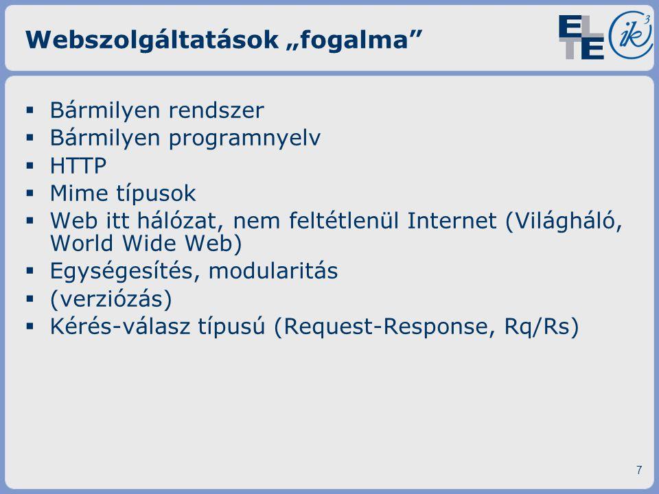 W3C ajánlás (szabványosítás felé)  WSDL – Web Service Definition Language  Verzió: 1.1 ▪ Típus definíció (types) ▪ Üzenet definíció (message) (milyen típusúak?) ▪ Művelet definíció (portType) (melyik üzenetre milyen a válaszüzenet?) ▪ Végpont és műveletek összekötése (binding) (protocol definíció) ·GET,POST,SOAP ·Vannak új irányok: JMS; Fájlírás, -figyelés ▪ Végpont definíció (service)  Új irányok/fejlesztések ▪ WADL (Web Application Definition Language) ▪ WSEL (Web Service Endpoint Language) ▪ … 18