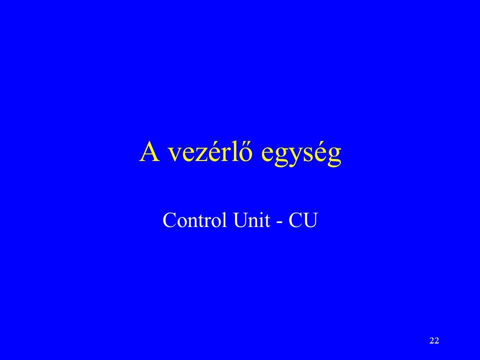 22 A vezérlő egység Control Unit - CU