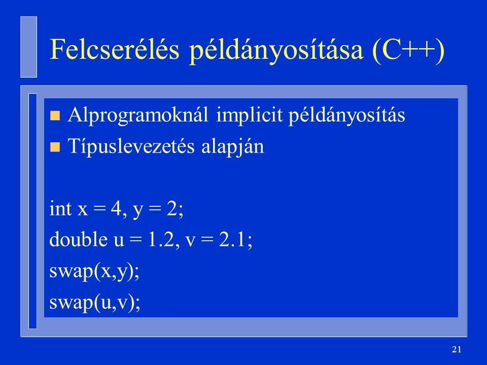 21 Felcserélés példányosítása (C++) n Alprogramoknál implicit példányosítás n Típuslevezetés alapján int x = 4, y = 2; double u = 1.2, v = 2.1; swap(x