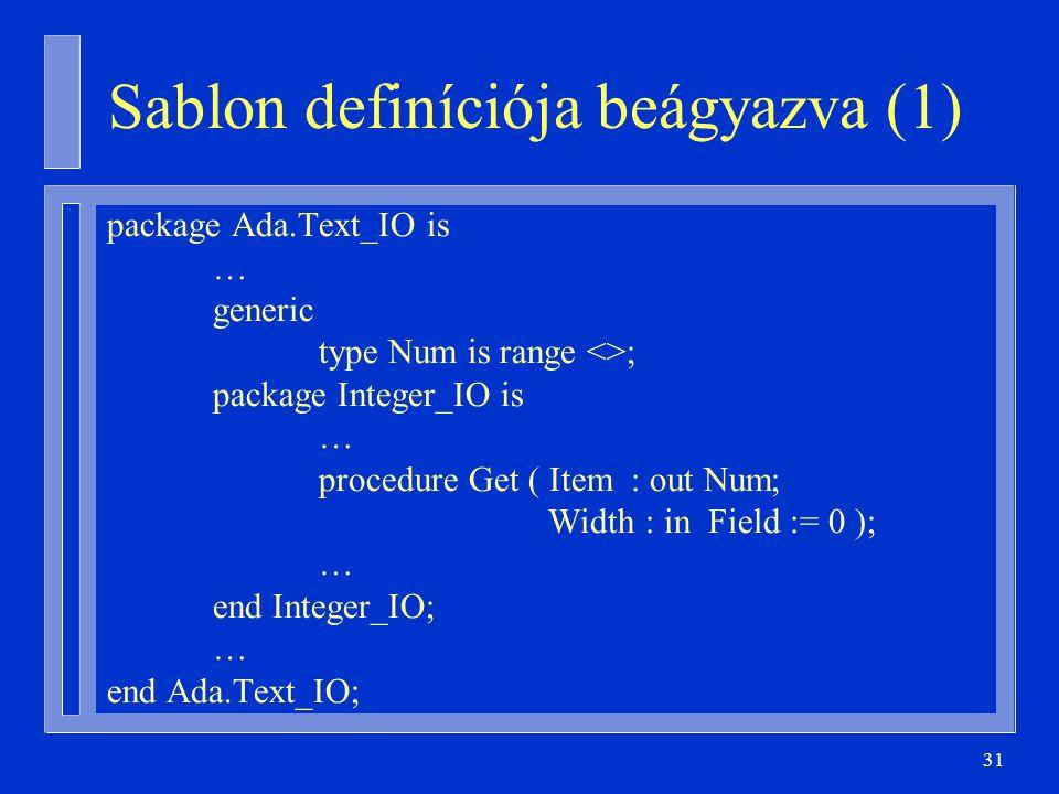 31 Sablon definíciója beágyazva (1) package Ada.Text_IO is … generic type Num is range <>; package Integer_IO is … procedure Get ( Item : out Num; Wid