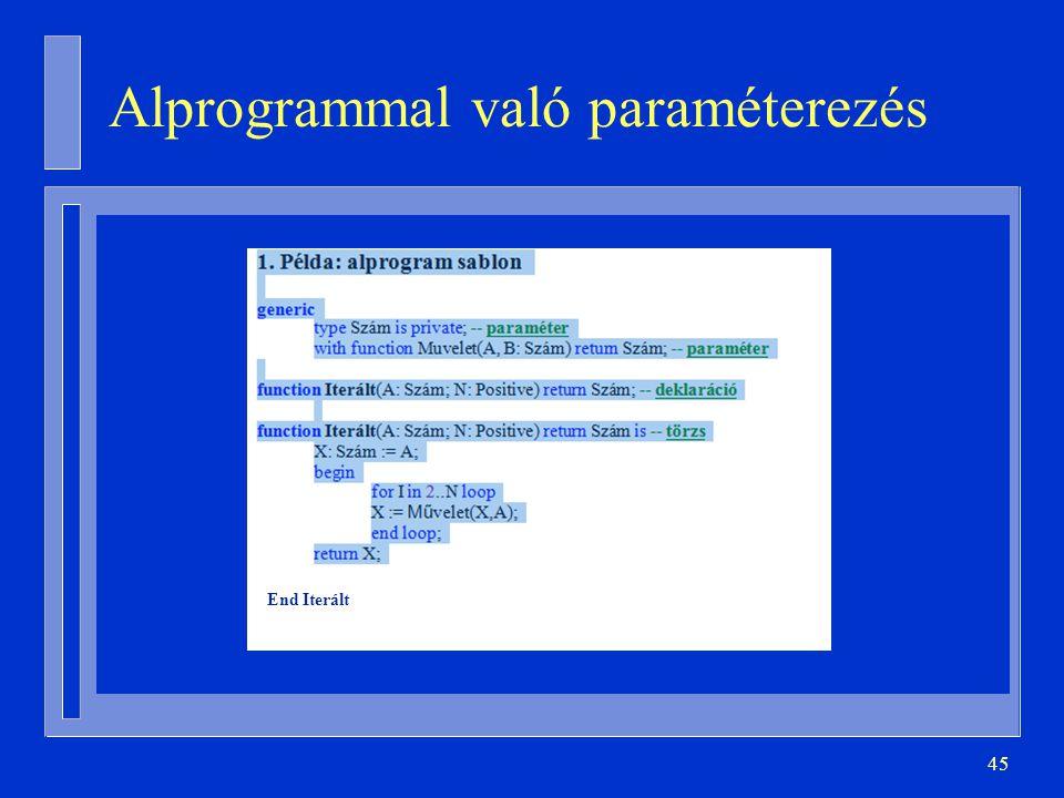 45 Alprogrammal való paraméterezés End Iterált