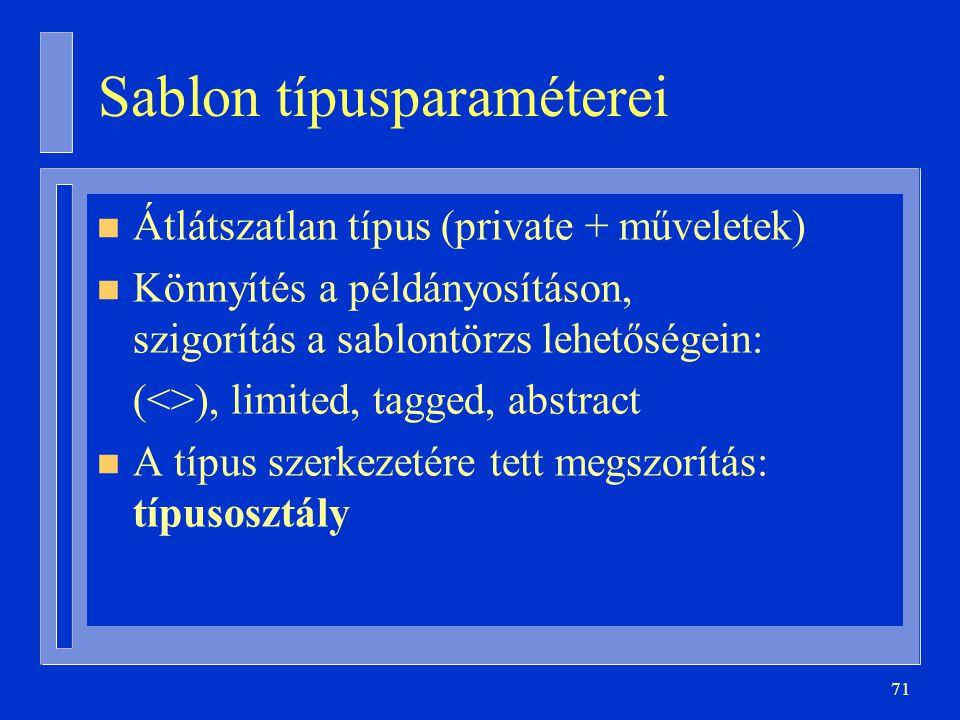 71 Sablon típusparaméterei n Átlátszatlan típus (private + műveletek) n Könnyítés a példányosításon, szigorítás a sablontörzs lehetőségein: (<>), limi