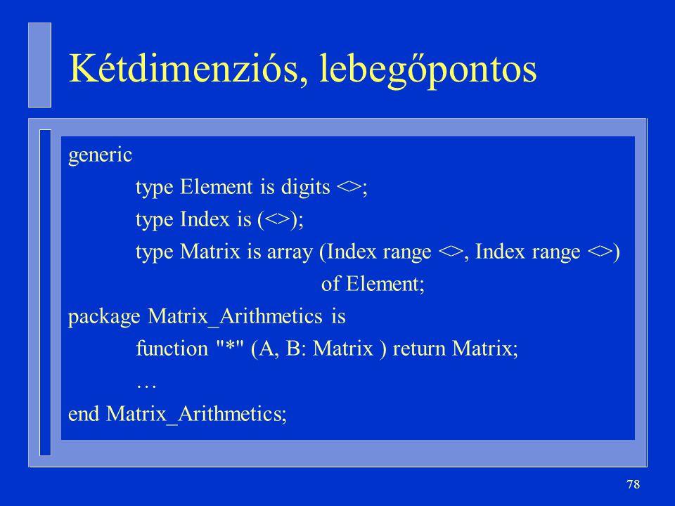 78 Kétdimenziós, lebegőpontos generic type Element is digits <>; type Index is (<>); type Matrix is array (Index range <>, Index range <>) of Element;
