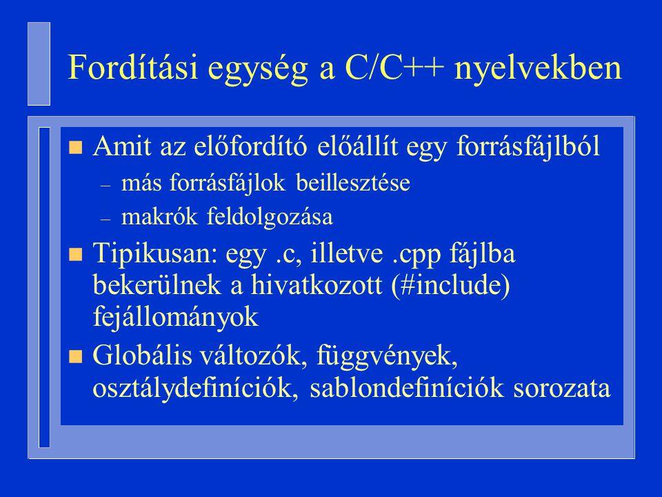Fordítási egység a C/C++ nyelvekben n Amit az előfordító előállít egy forrásfájlból – más forrásfájlok beillesztése – makrók feldolgozása n Tipikusan: egy.c, illetve.cpp fájlba bekerülnek a hivatkozott (#include) fejállományok n Globális változók, függvények, osztálydefiníciók, sablondefiníciók sorozata