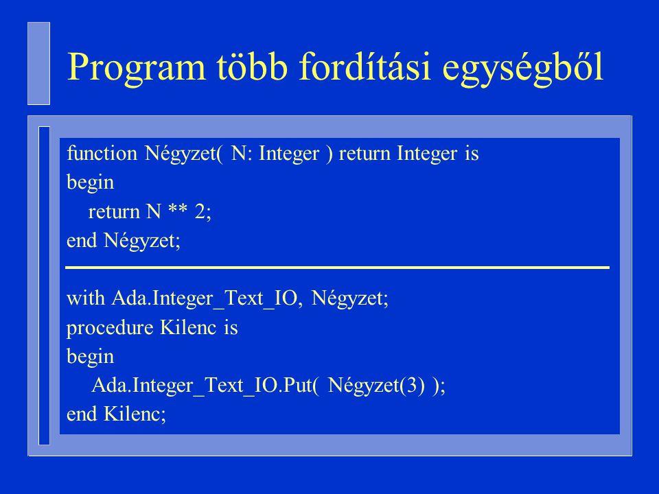 Program több fordítási egységből function Négyzet( N: Integer ) return Integer is begin return N ** 2; end Négyzet; with Ada.Integer_Text_IO, Négyzet; procedure Kilenc is begin Ada.Integer_Text_IO.Put( Négyzet(3) ); end Kilenc;