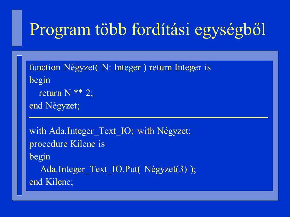 Program több fordítási egységből function Négyzet( N: Integer ) return Integer is begin return N ** 2; end Négyzet; with Ada.Integer_Text_IO; with Négyzet; procedure Kilenc is begin Ada.Integer_Text_IO.Put( Négyzet(3) ); end Kilenc;