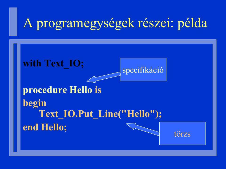 with Text_IO; procedure Hello is begin Text_IO.Put_Line( Hello ); end Hello; specifikáció törzs A programegységek részei: példa