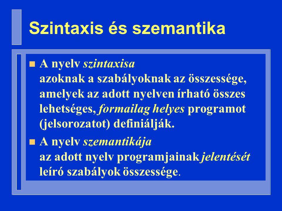 Szintaxis és szemantika n A nyelv szintaxisa azoknak a szabályoknak az összessége, amelyek az adott nyelven írható összes lehetséges, formailag helyes programot (jelsorozatot) definiálják.