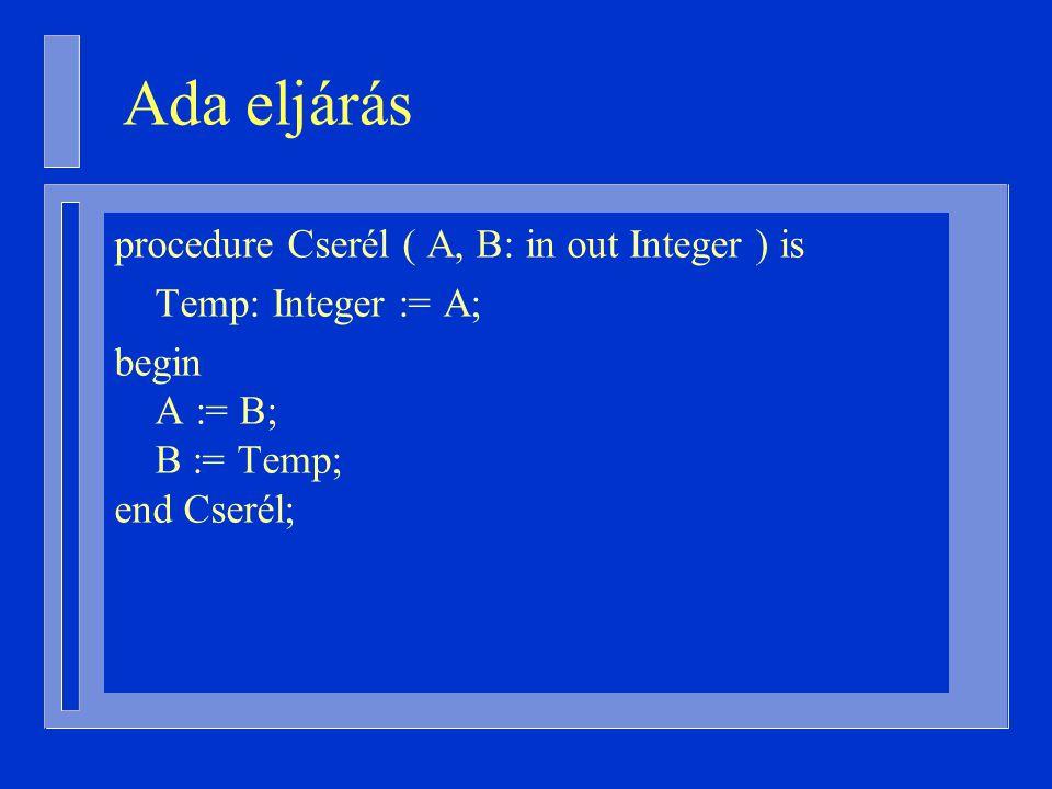 procedure Cserél ( A, B: in out Integer ) is Temp: Integer := A; begin A := B; B := Temp; end Cserél; Ada eljárás