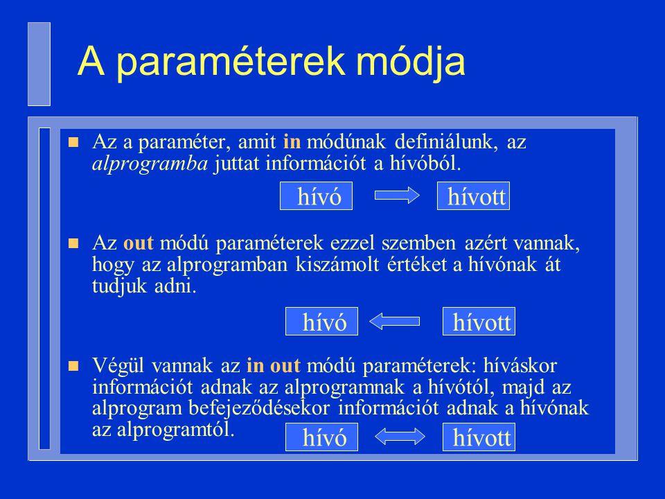 A paraméterek módja n Az a paraméter, amit in módúnak definiálunk, az alprogramba juttat információt a hívóból.