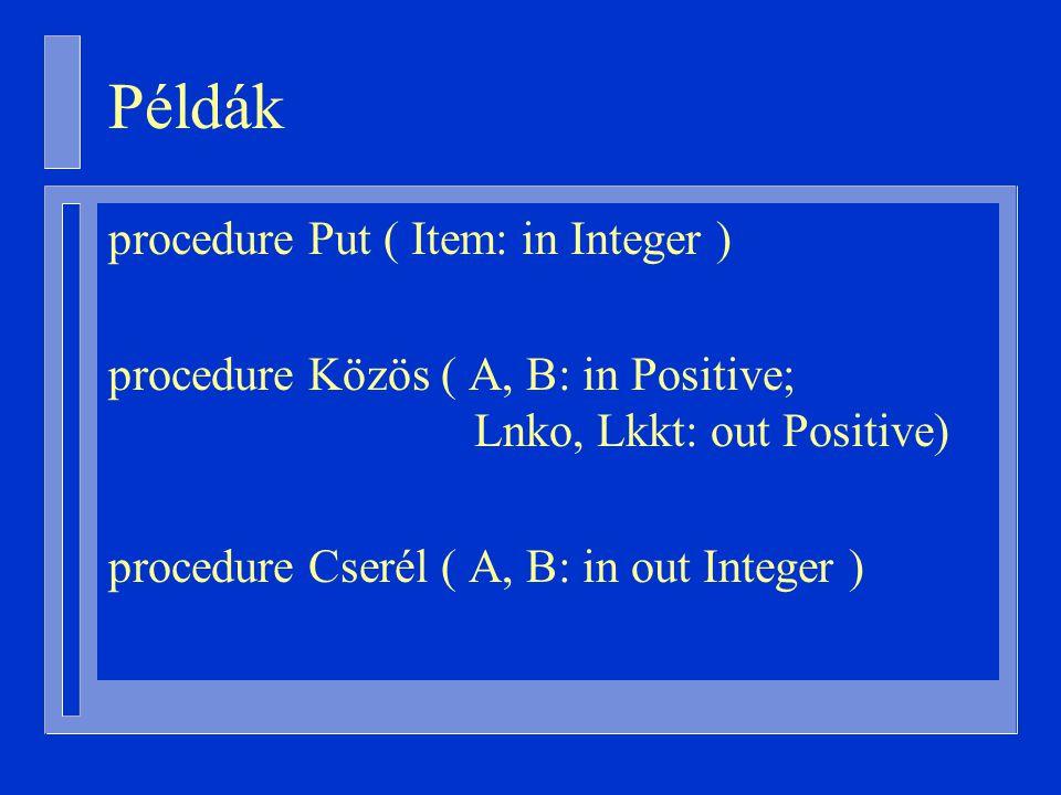 Példák procedure Put ( Item: in Integer ) procedure Közös ( A, B: in Positive; Lnko, Lkkt: out Positive) procedure Cserél ( A, B: in out Integer )