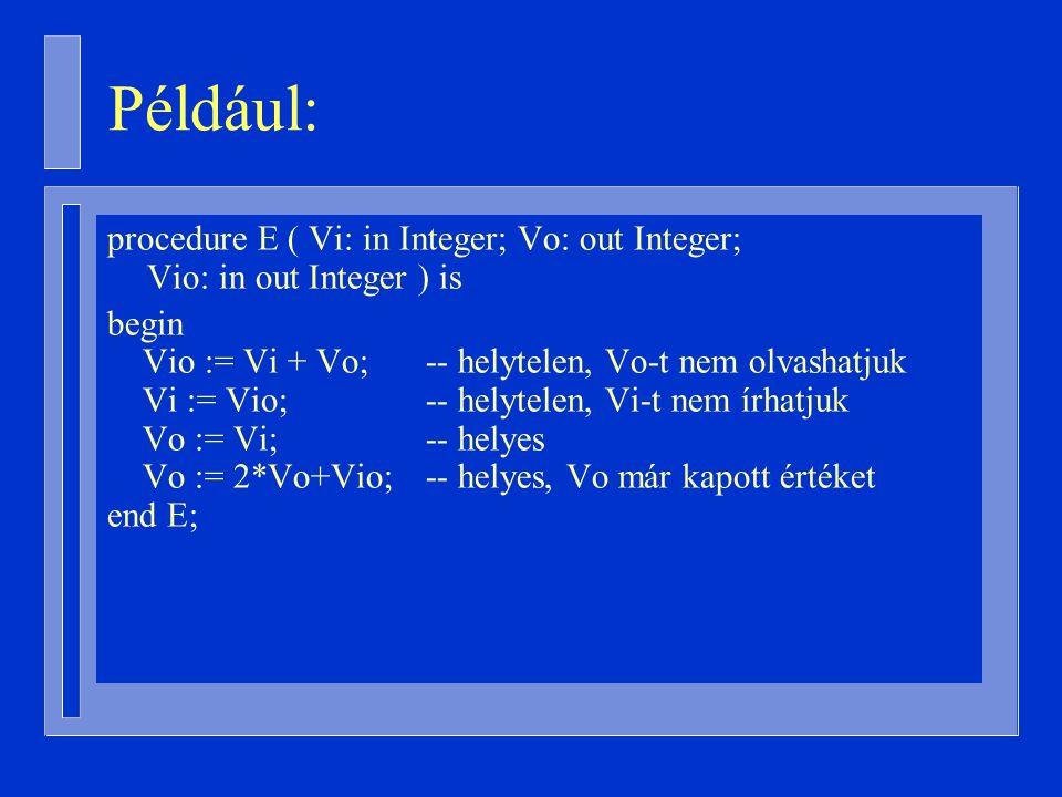 procedure E ( Vi: in Integer; Vo: out Integer; Vio: in out Integer ) is begin Vio := Vi + Vo; -- helytelen, Vo-t nem olvashatjuk Vi := Vio; -- helytelen, Vi-t nem írhatjuk Vo := Vi; -- helyes Vo := 2*Vo+Vio; -- helyes, Vo már kapott értéket end E; Például: