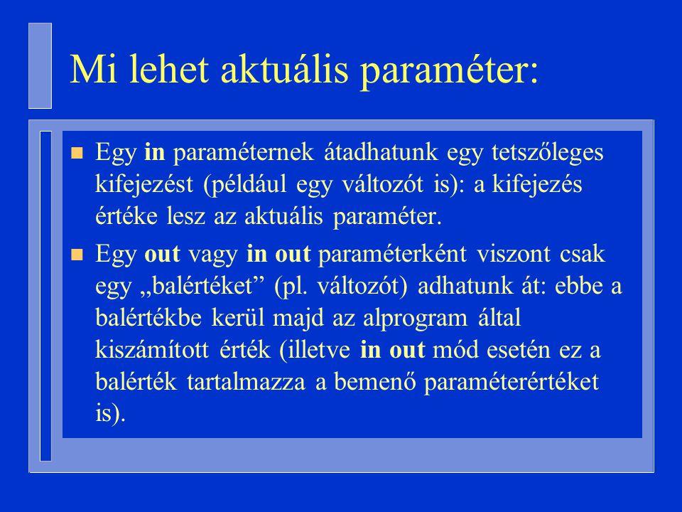 Mi lehet aktuális paraméter: n Egy in paraméternek átadhatunk egy tetszőleges kifejezést (például egy változót is): a kifejezés értéke lesz az aktuális paraméter.