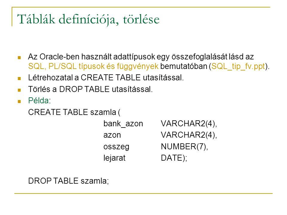Táblák definíciója, törlése Az Oracle-ben használt adattípusok egy összefoglalását lásd az SQL, PL/SQL típusok és függvények bemutatóban (SQL_tip_fv.p