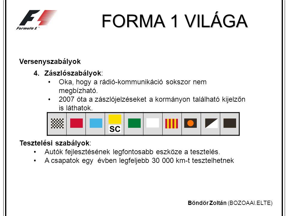 Böndör Zoltán (BOZOAAI.ELTE) FORMA 1 VILÁGA Versenyszabályok 4.Zászlószabályok: Oka, hogy a rádió-kommunikáció sokszor nem megbízható.