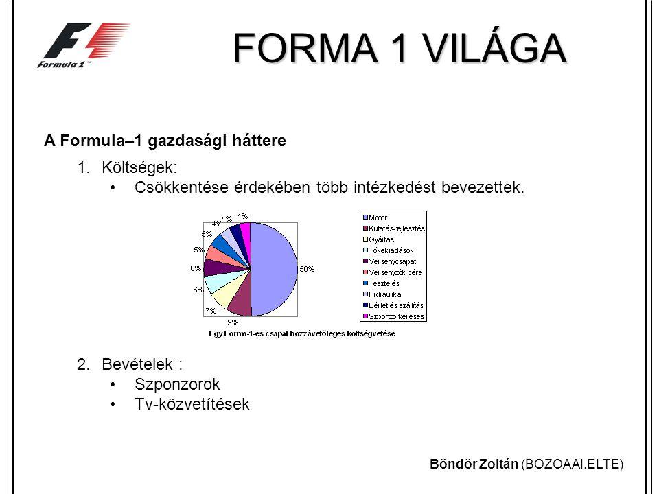 Böndör Zoltán (BOZOAAI.ELTE) FORMA 1 VILÁGA A Formula–1 gazdasági háttere 1.Költségek: Csökkentése érdekében több intézkedést bevezettek.
