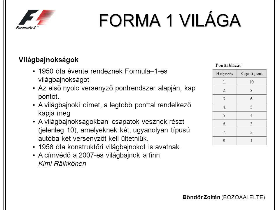 Böndör Zoltán (BOZOAAI.ELTE) FORMA 1 VILÁGA Versenypályák A Formula–1-es versenyeket zárt, szilárd burkolatú, külön erre a célra épített pályákon tartják.