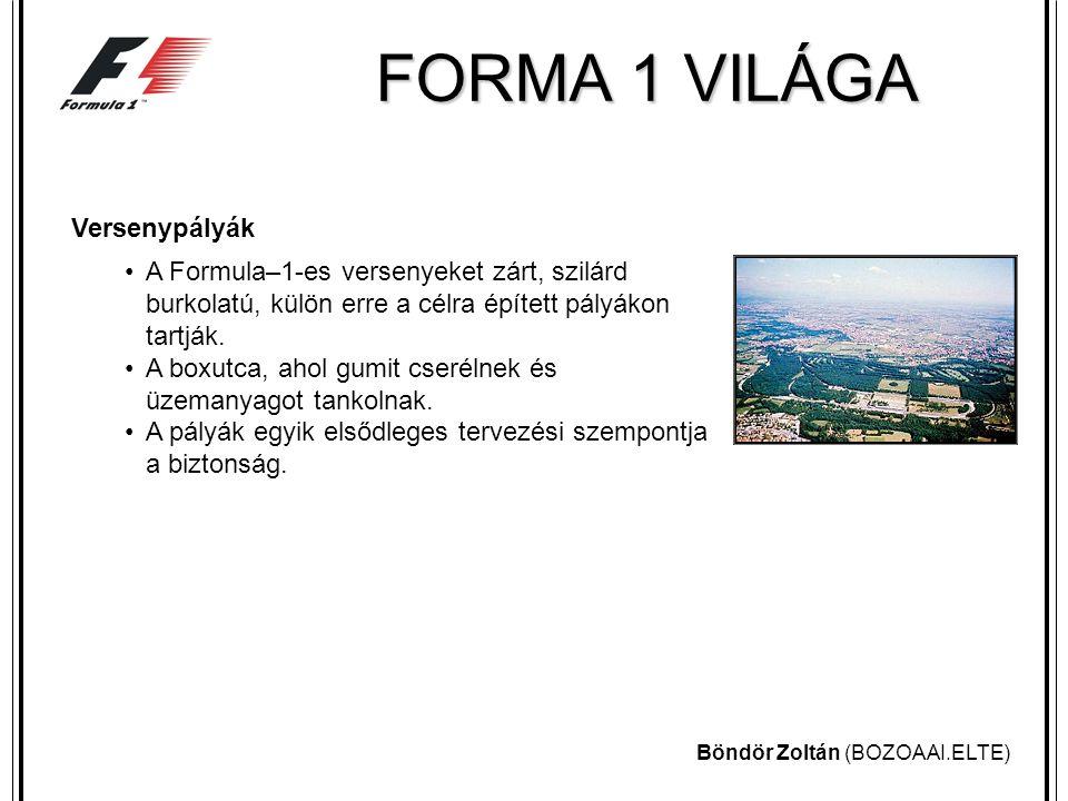 Böndör Zoltán (BOZOAAI.ELTE) FORMA 1 VILÁGA Versenyzők A Formula-1 történetének legsikeresebb versenyzője a német Michael Schumacher.