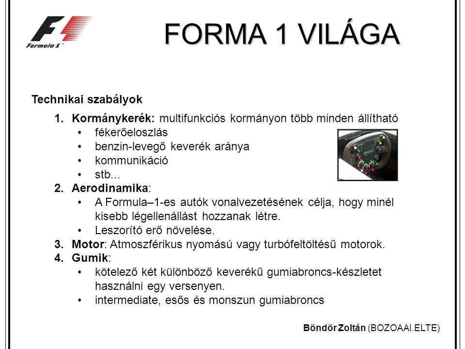 Böndör Zoltán (BOZOAAI.ELTE) FORMA 1 VILÁGA Versenyszabályok 1.Szabadedzések, időmérő edzés : Minden nagydíj pénteken, két szabadedzéssel kezdődik.